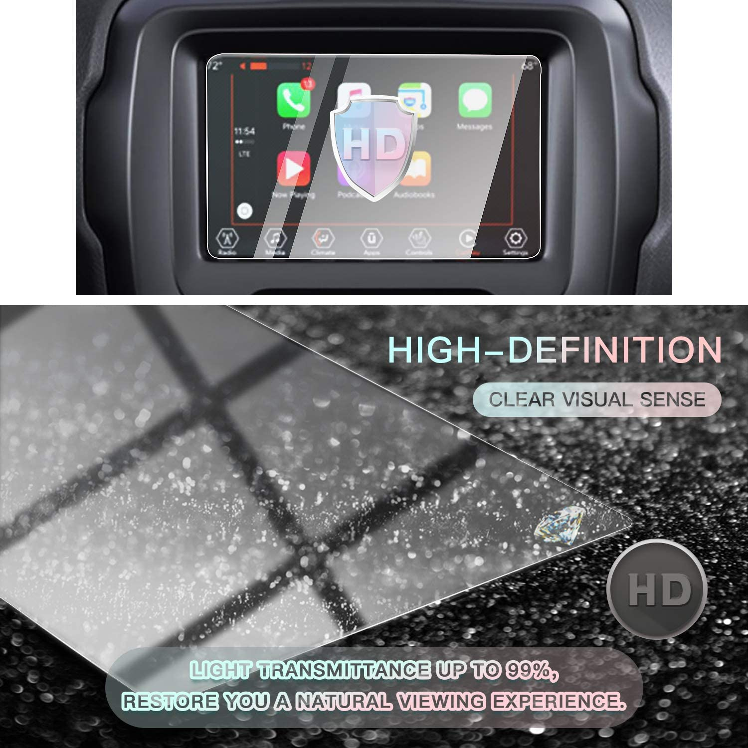 8.4 Inches CDEFG for Jeep Renegade Auto Navigation Screen Protector 9H Anti Scratch HD Clarity Tempered Glass Car GPS Protective Film