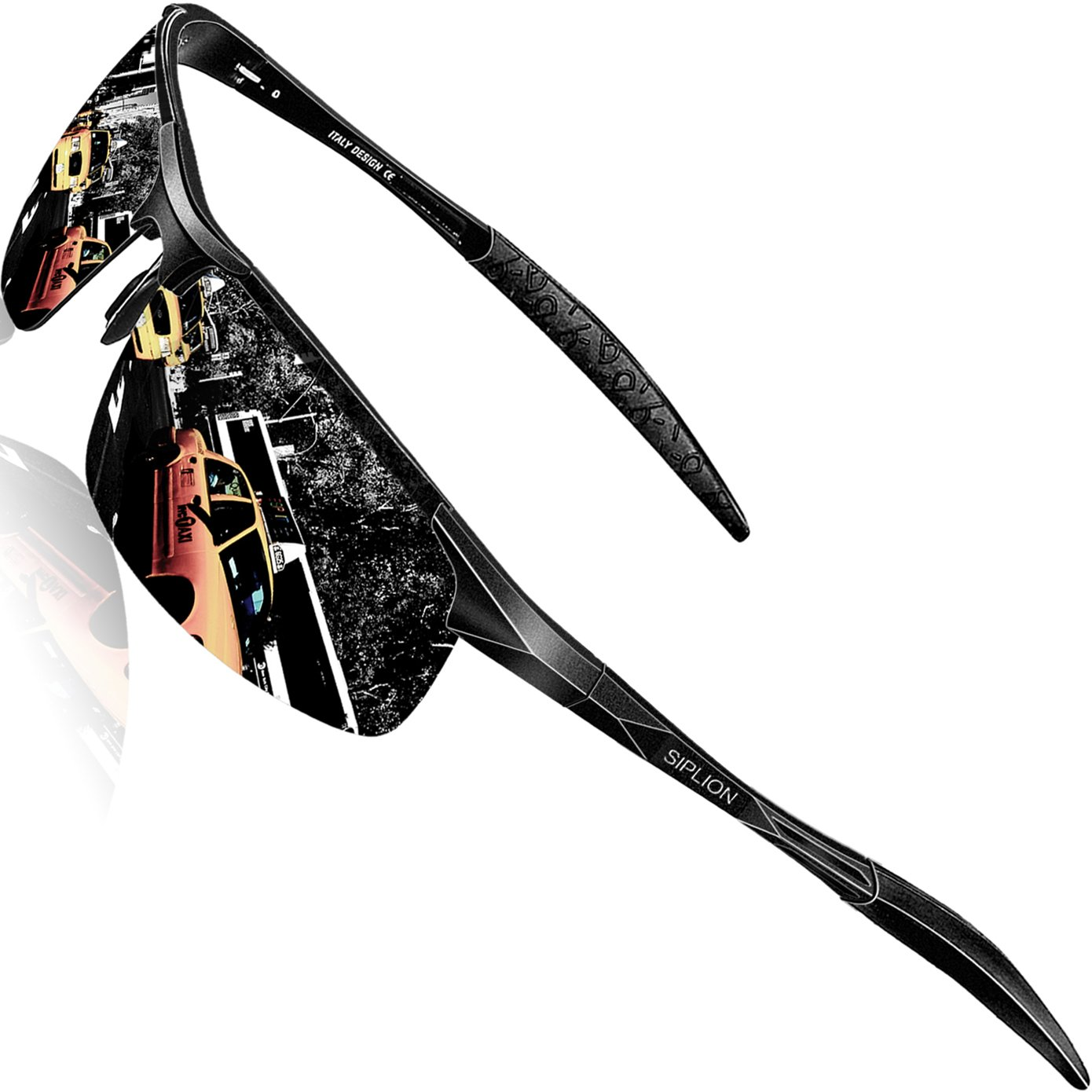 SIPLION Men's Driving Polarized Sport Sunglasses Al-Mg Metal Frame Ultra Light 8177 Black by SIPLION