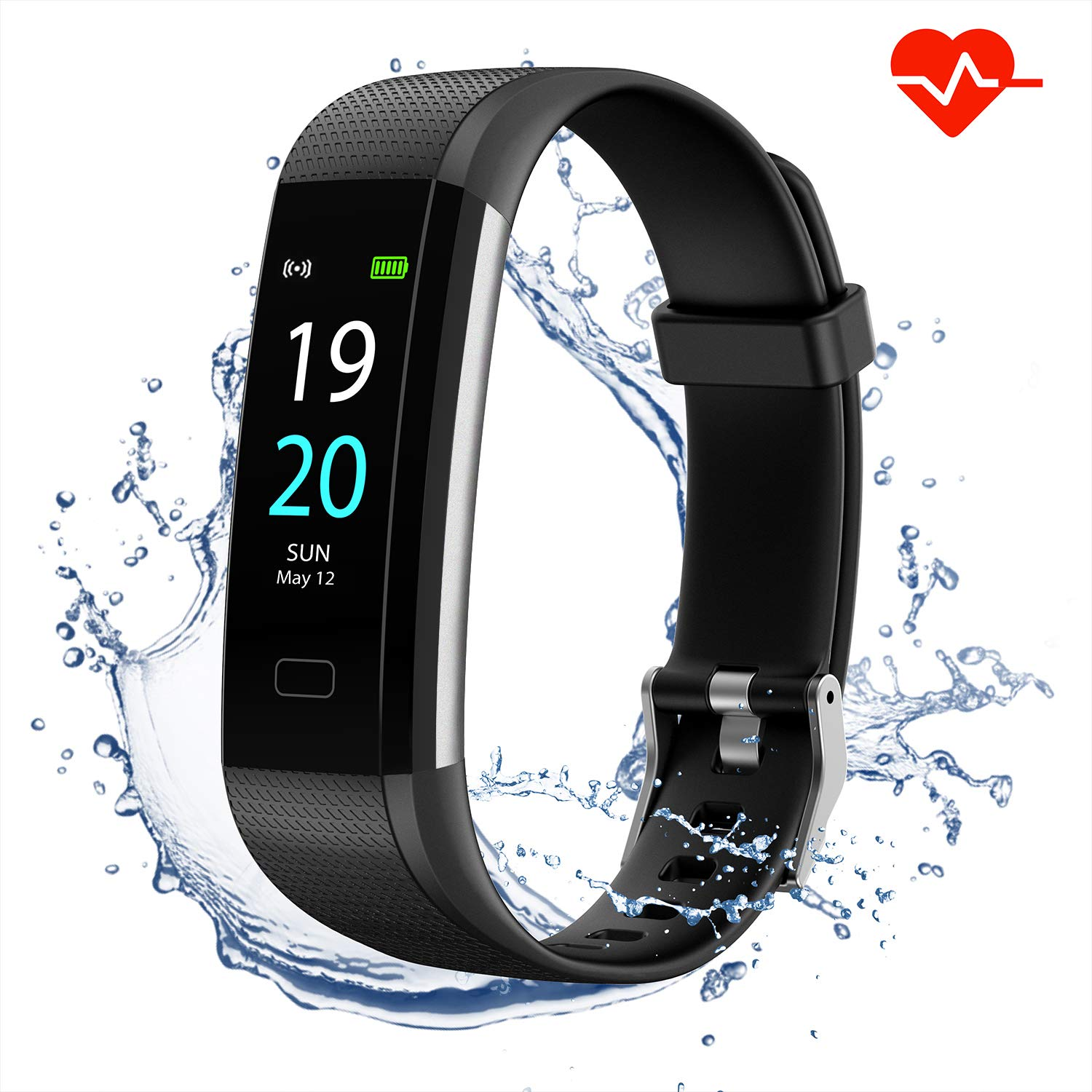 Akasma Fitness Tracker HR, S5 Activity Tracker Watch with Heart Rate Monitor, Pedometer IP68 Waterproof Sleep Monitor Step Counter for Women Men (Black) by Akasma