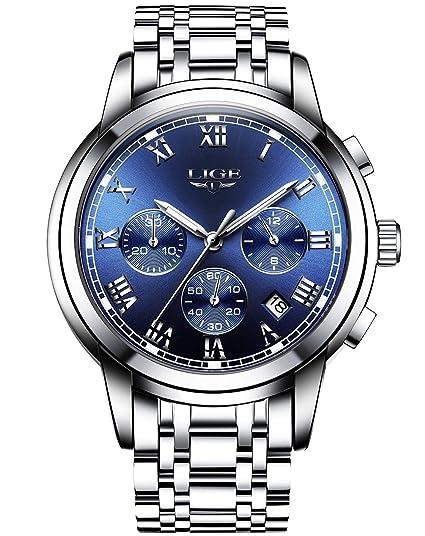 Hombre Luxus Business Reloj de pulsera impermeable relojes con cronógrafo calendario analógico de cuarzo reloj con números romanos esfera azules, ...