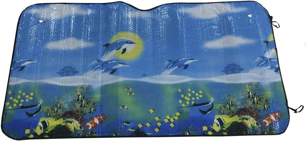 Delfines ALLPER Parasol Coche para Luna Delantera Material: L/ámina de Aluminio. Regalo 2 PCS Parasol Ventana TAMA/ÑO: 130 x 60 cm Protector Solar Universal con 2 ventosas//2 Correas,