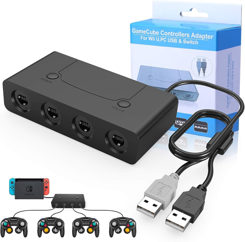 HEYSTOP Gamecube Controller Adapter, Wii U Gamecube NGC Controller Adapter Switch con Turbo y Botones de Inicio para Nintendo Switch, Wii U y PC USB, 4 Puertos.: Amazon.es: Electrónica