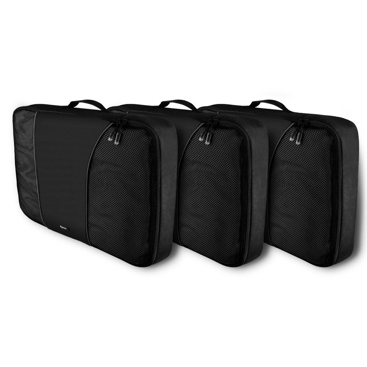 RYACO 3 Stück Premium Packwürfel Robust & Langlebig Reisetasche,Verpackungswürfel, Packtaschen, Kleidertasche, Koffer-Organizer, Aufbewahrungstasche Verpackungswürfel 95PC-N3PL-3BR