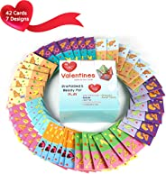 MOMONI Premium 42 Piece Valentines day cootie catcher cards game with envelopes- Perfect for kids valentine day cards, school
