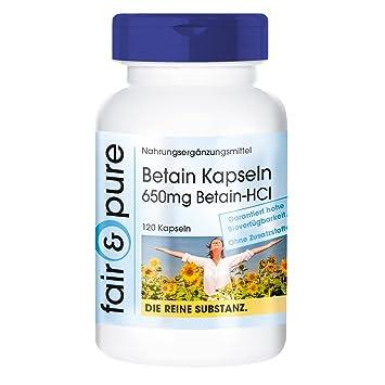 Betain Kapseln 650mg, Betain-HCI /Betainhydrochlorid, vegan, ohne ...