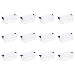 Sterilite 17511712 6 Quart/5.7 Liter ClearView Latch Box, Clear with Sweet Plum Latches, 12-Pack