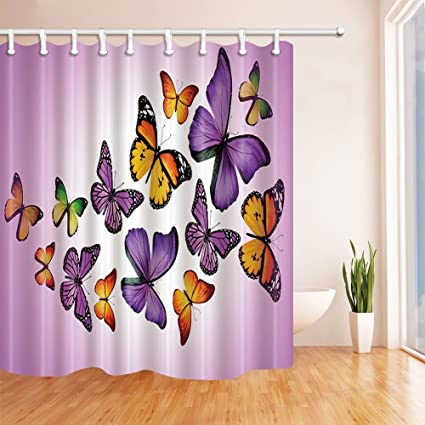 HiSoho 3D Flying Butterfly Shower Curtain Polyester Fabric Waterproof Bath Curtains Hooks