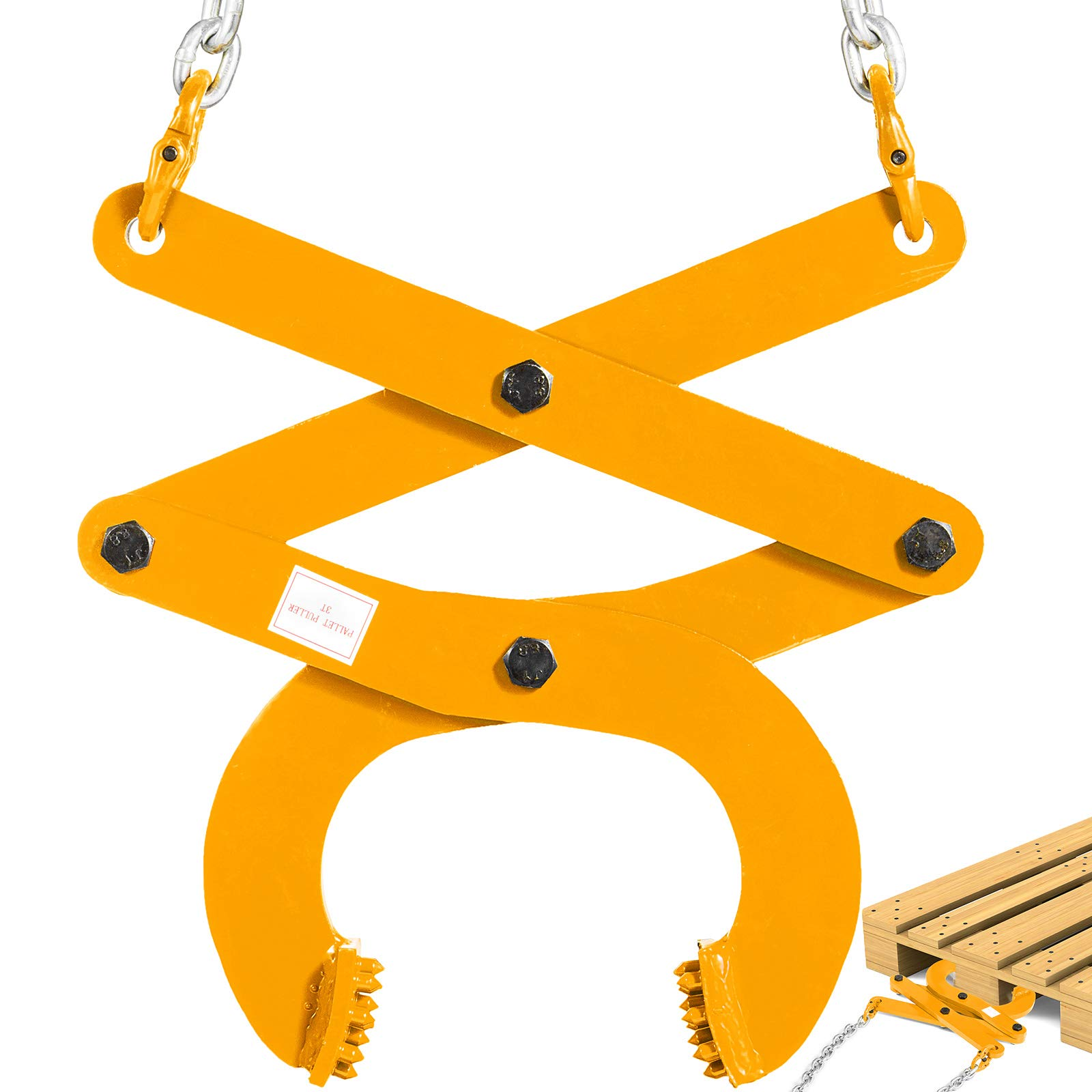 BestEquip 3T Pallet Puller Steel Double Scissor Yellow Pallet Puller Clamp 6614 LBS Capacity 6.3 Inch Jaw Opening x 0.5 Inch Jaw Height with 8 Inch Chain