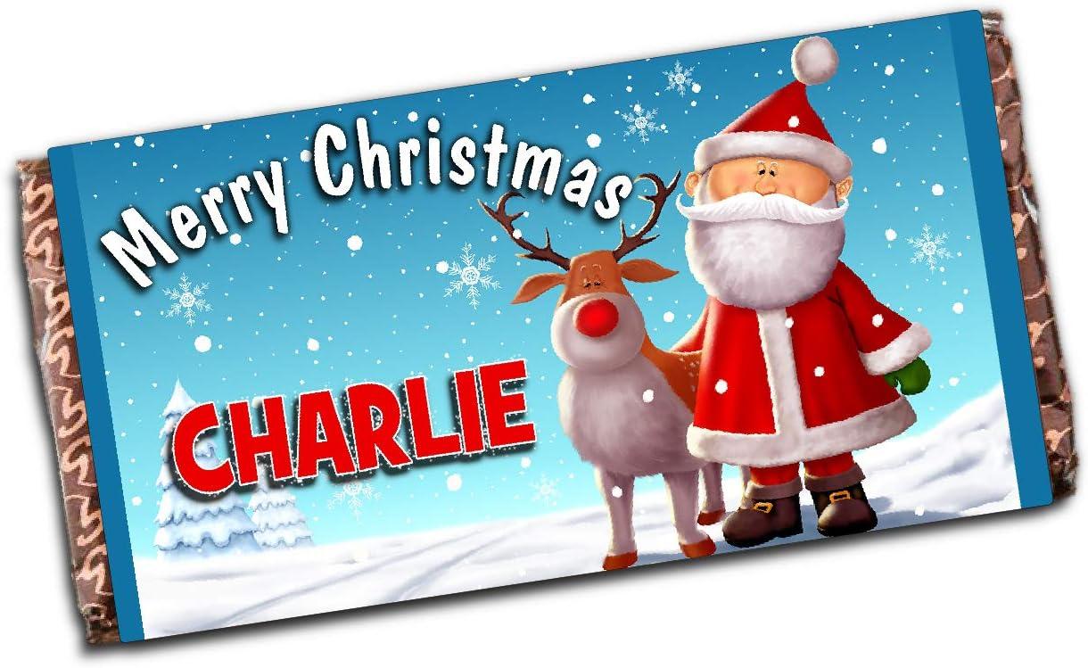 Personalised Merry Christmas Santa Snowman 110g Milk Chocolate Bar Xmas Eve Kids Girls Boys Mum Dad Stocking Fillers Gift Ideas Present N121 Amazon Co Uk Toys Games