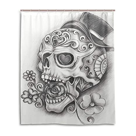 Wamika Day Of The Dead Shower CurtainSugar Skull Hand Bath Curtain Waterproof