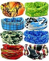 kilofly Multi-purpose Seamless Headwear Bandanas Mixed Set Value Pack [Set of 8]
