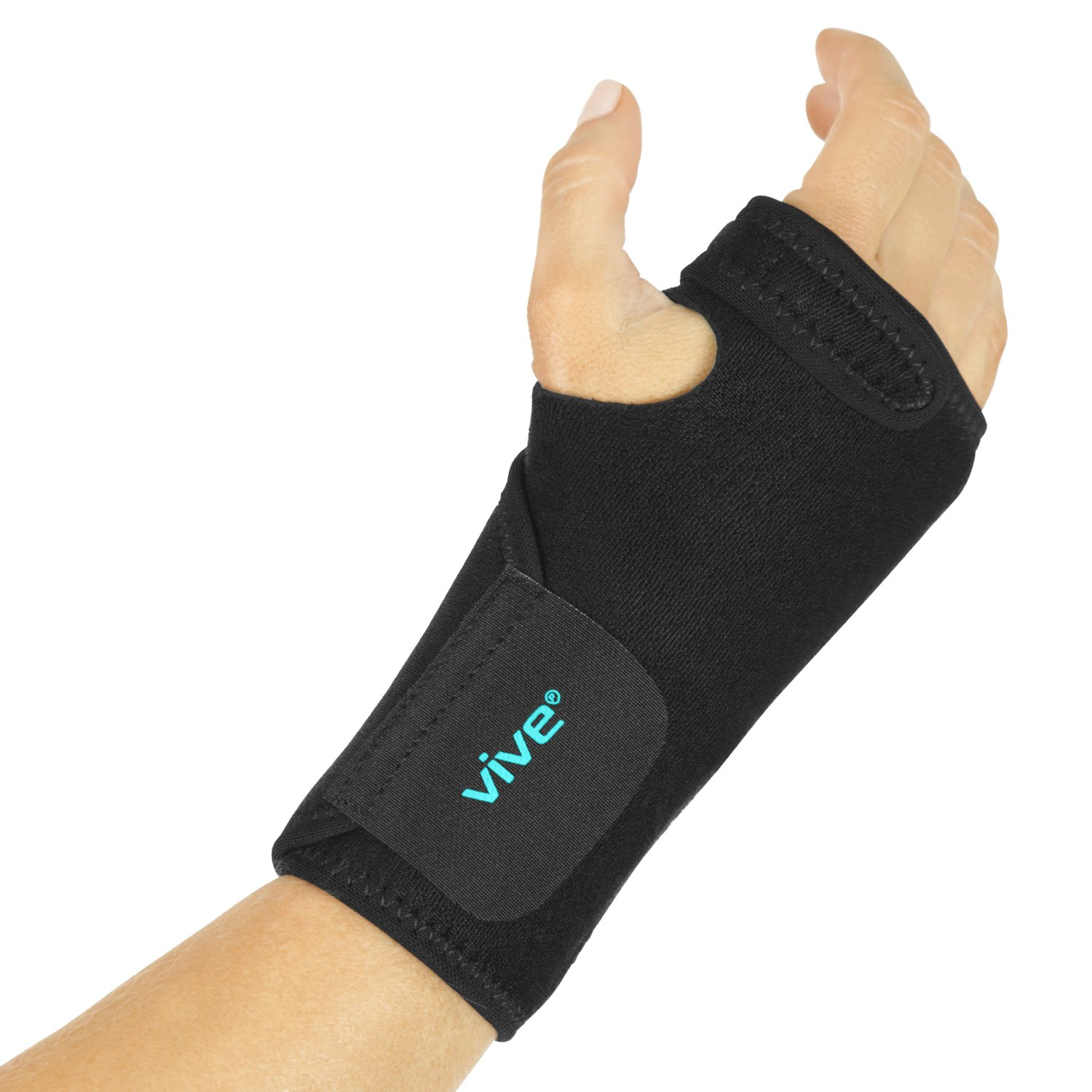 Vive Wrist Brace - Left or Right Hand Compression Support Wrap for Carpal Tunnel, Tendinitis, Bowling, Sports Injuries Pain Relief - Removable Splint - Universal Ergonomic Fit, One Size - Men, Women