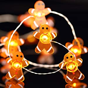 Christmas Lights Decoration Xmas Gingerbread Man 40 LED String Lights with Remote Control for Christmas Home Party Bedroom Xmas Decor 10ft (Gingerbread Man)