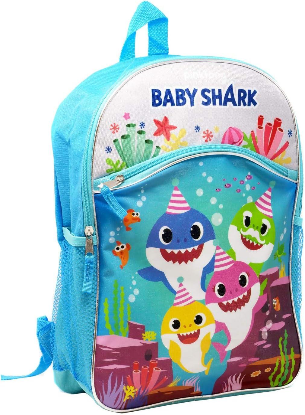 """4 Baby Shark 16"""" Large 2 Pocket Backpack"""