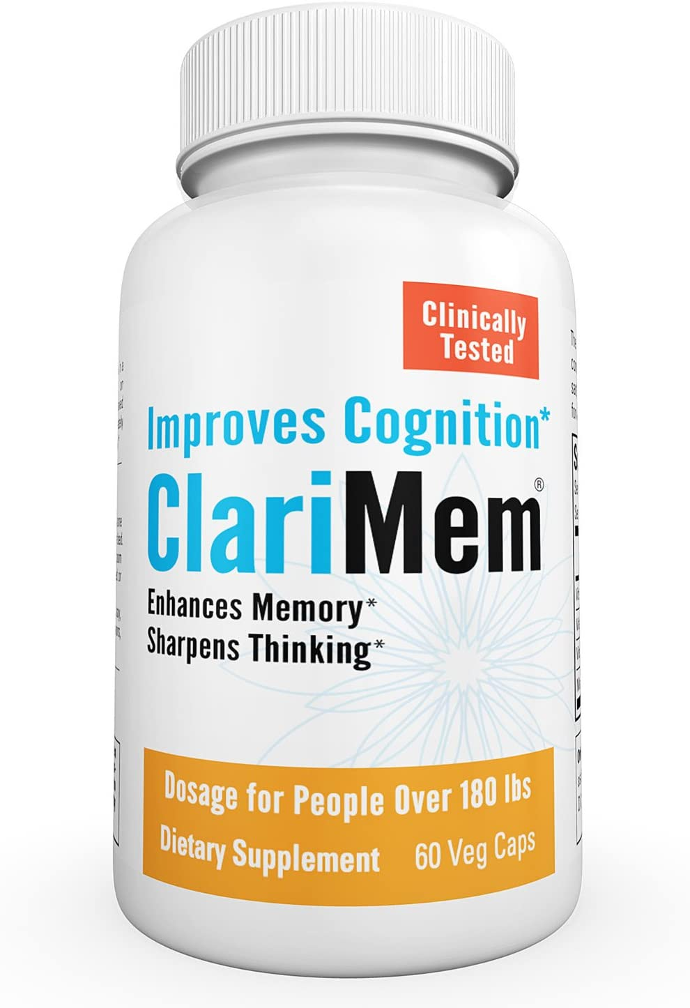 ClariMem-Clinically Tested Brain Supplement Nootropic- for Overall Memory, Focus, Clarity & Cognitive Support-1 Month Supply- ClariMem-(Over 180 lbs)
