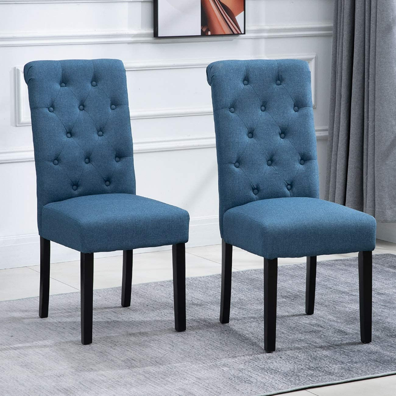 Amazon Com Nozama 2 Pack Upholstered Dining Chairs Set Of 2 Tufted Parsons Chairs With Solid Wood Legs High Back Kitchen Dining Room Chairs Blue Chairs
