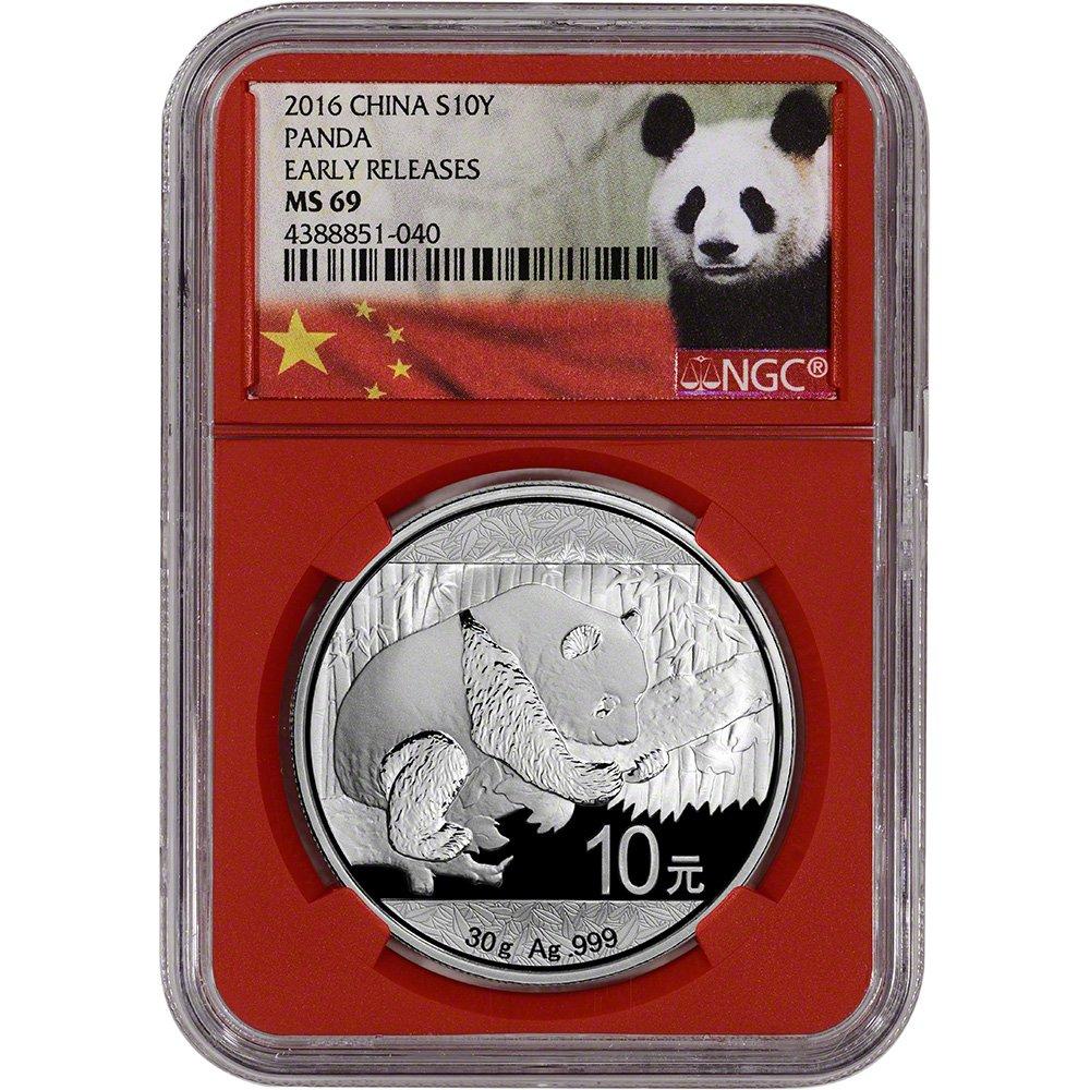 30 g 2018 China Silver Panda 10 Yuan NGC MS69