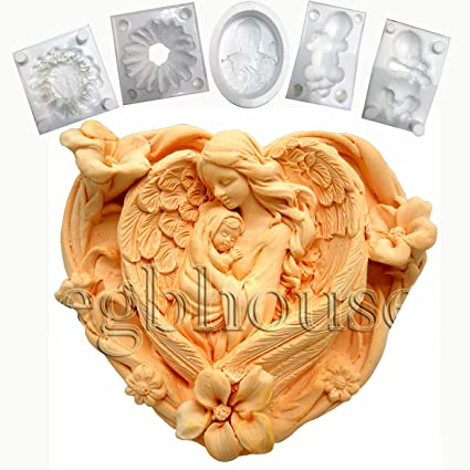 Mother /& Child in Heart Silicone mold 2D Soap//Plaster//Polymer Clay Mold