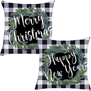 Munzong Merry Christmas&Happy New Year Wreath Throw Pillow Covers 16 x 16 Set of 2, Black White Buffalo Check Plaid Farmhouse Square Pillowcases for Sofa Home Xmas Day Party Decor