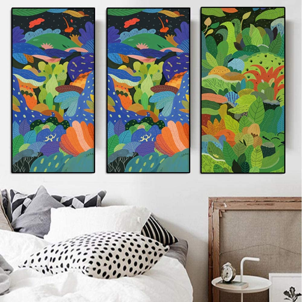 NOBRAND 3 Paneles/Juegos Carteles e Impresiones Cuadros al óleo Abstractos contemporáneos de Flores sobre Lienzo Cuadros de Pared para Sala Cuadros-30x60cmx3p Sin Marco