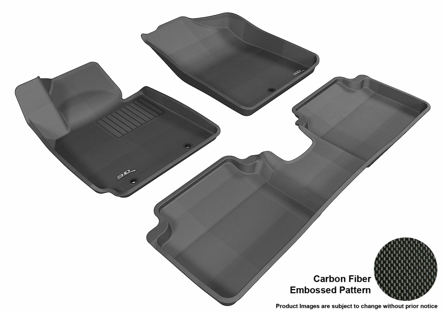 3D MAXpider Complete Set Custom Fit All-Weather Floor Mat for Select Hyundai Veloster Models - Kagu Rubber (Black) L1HY02401509