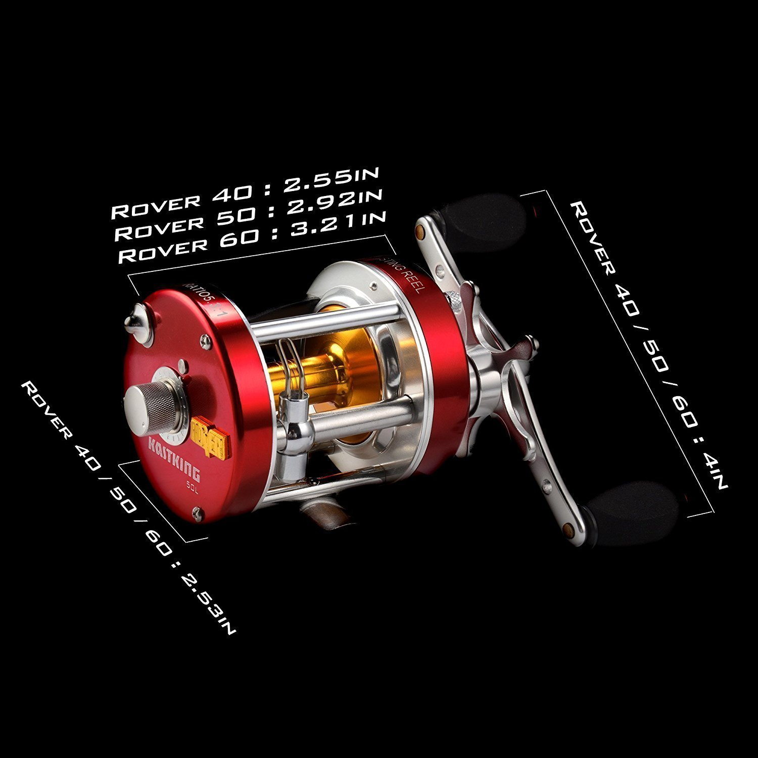 KastKing Rover Round Baitcasting Reel - No. 1 Rated Conventional Reel - Carbon Fiber Star Drag - Reinforced Metal Body by KastKing (Image #9)