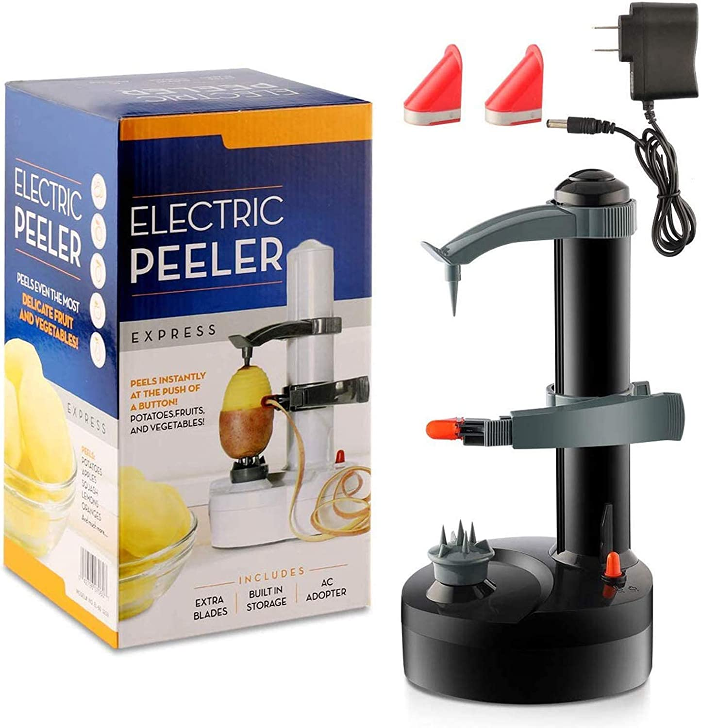 Electric Potato Peeler, Automatic Rotating Fruits & Vegetables Cutter Apple Paring Machine - Kitchen Peeling Tool with 2 Extra Blades (Black)