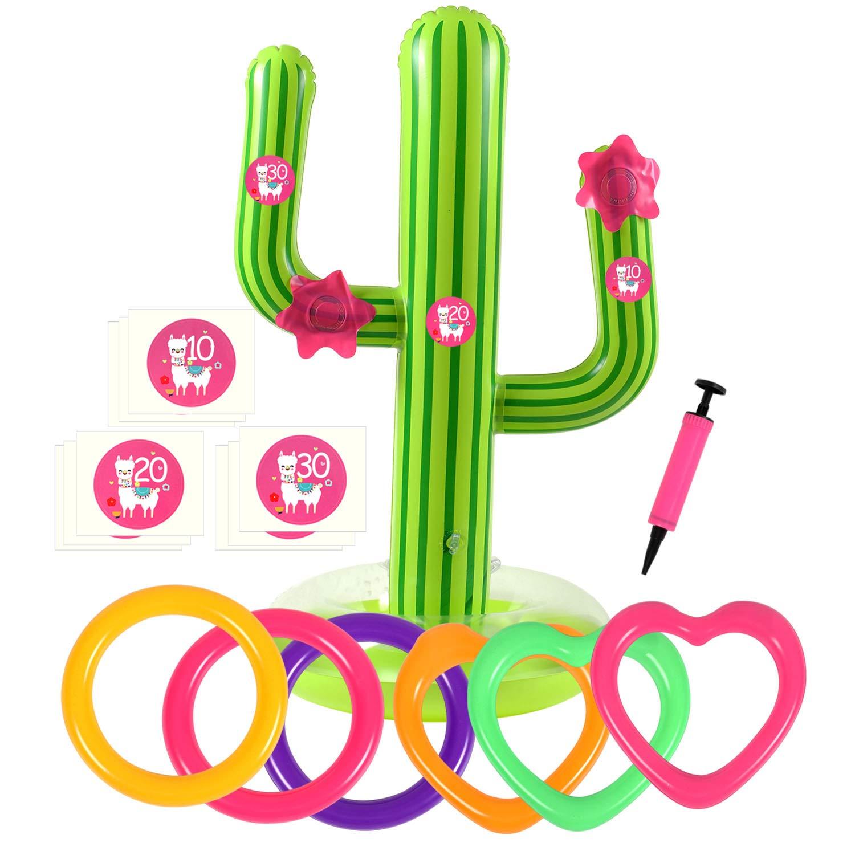 Bascolor 17Pcs Inflable Juegos de Lanzamiento con Cactus inflable Anillo inflable del lanzamiento Número Pegatinas y Flamingo Caja Regalo para Juegos ...