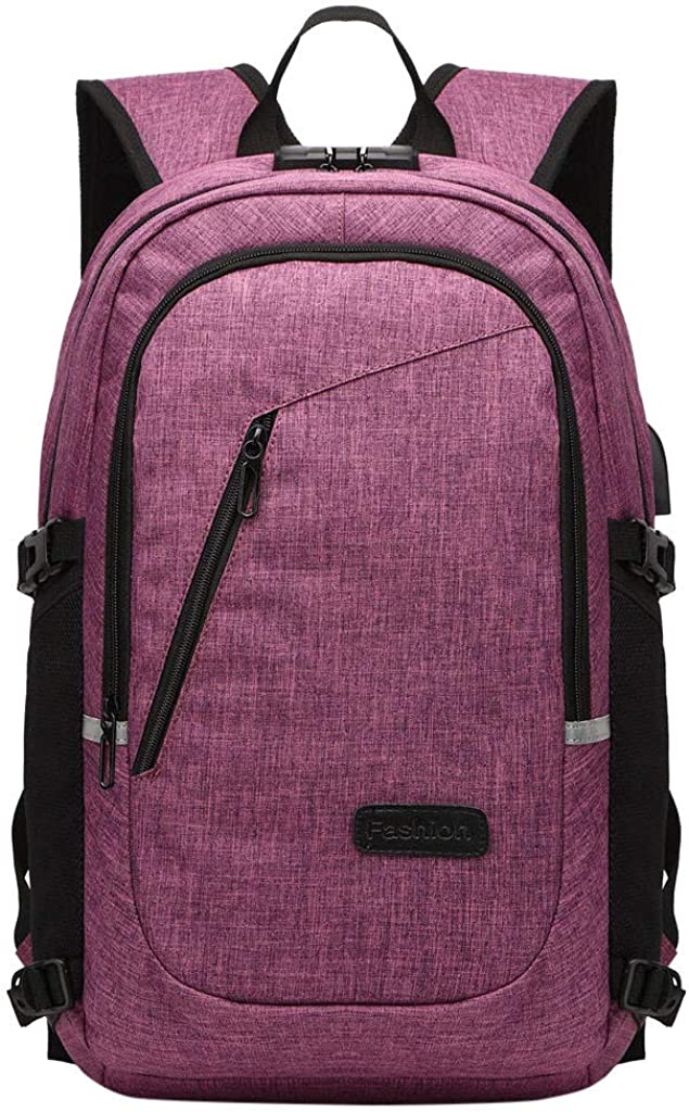 Liraly Travel School Bookbag with USB Charging Port Durable Business Daypack College Computer Bag for Men Women Outdoor