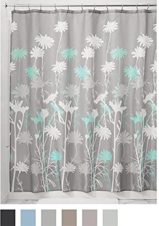 gray and teal shower curtain. InterDesign Daizy Shower Curtain  Gray and Mint 72 x Inch Amazon com