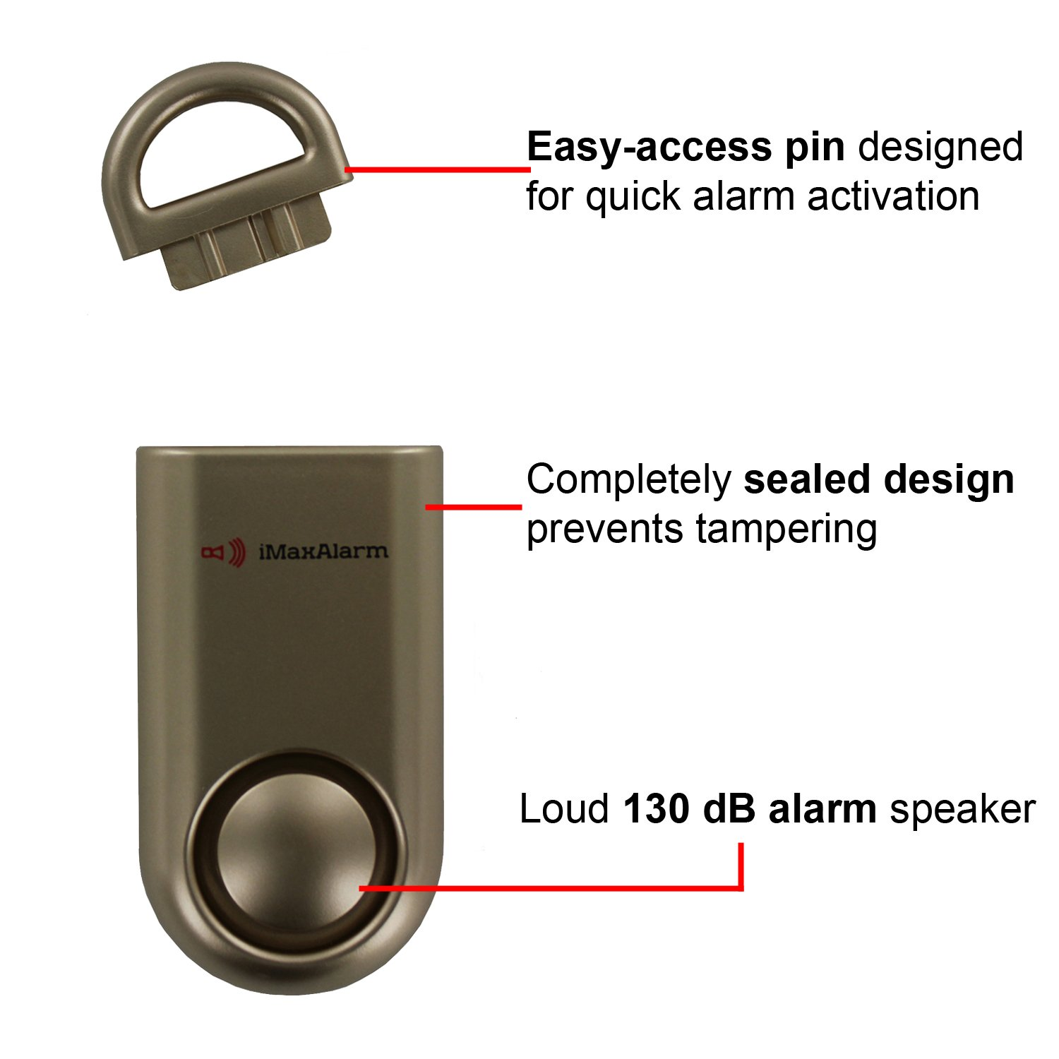 iMaxAlarm SOS Alert Personal Alarm - 130dB Alarm - Safety & Security Emergency Device - Gold by iMaxAlarm (Image #2)