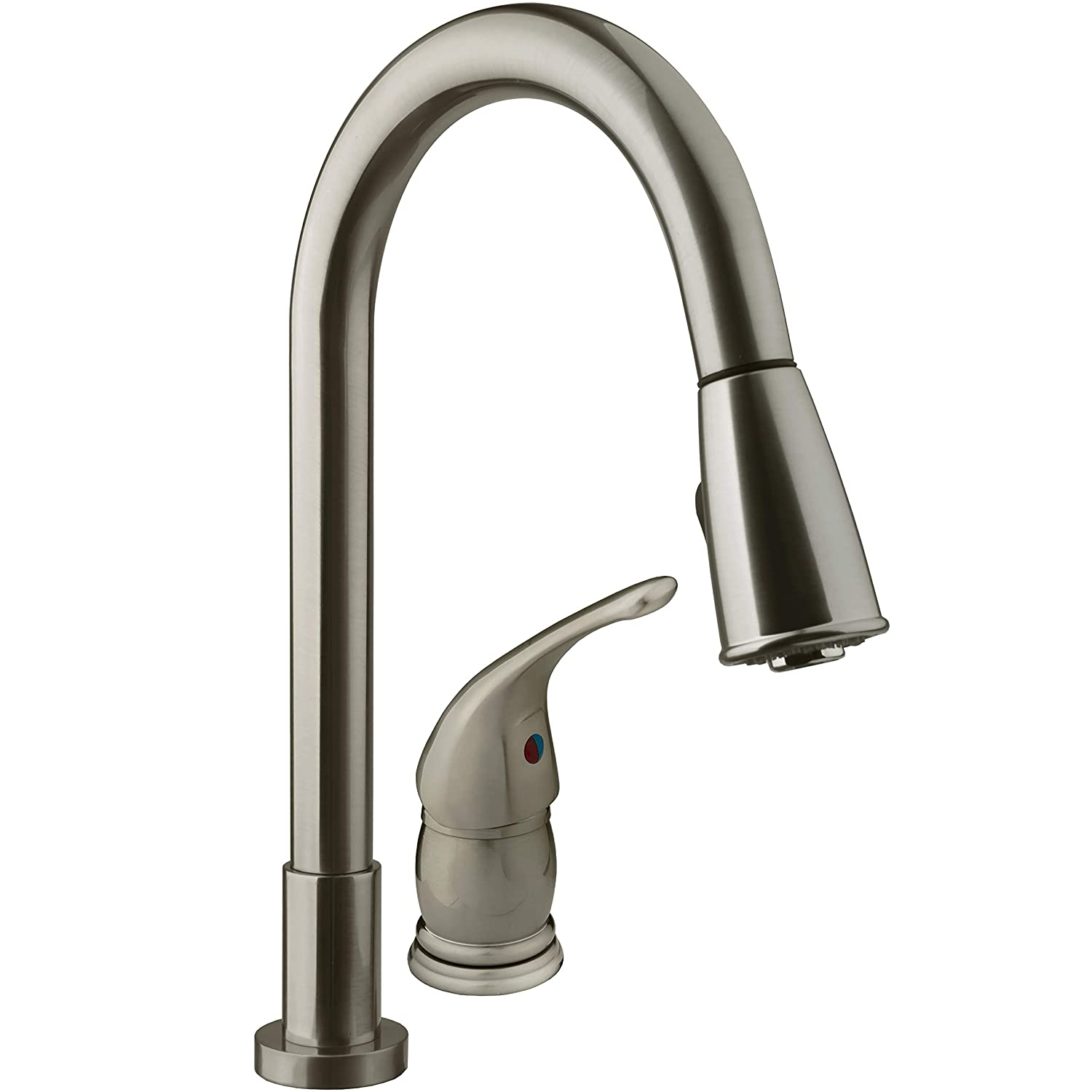 Dura Faucet Kitchen Faucet for RV Pull-Down with Side Lever for Recreational Vehicles, Motorhomes, 5th Wheels, and Travel Trailers (Brushed Satin Nickel)