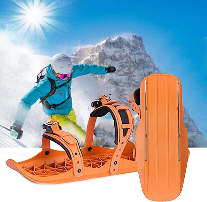 Lucakuins Outdoor Skiing Mini Sled Mini Snowboard Sled Shoes Anti-Slip Foot Panels Snow Board Ski Boots Outdoor Skiing Winter Sports Equipment Black