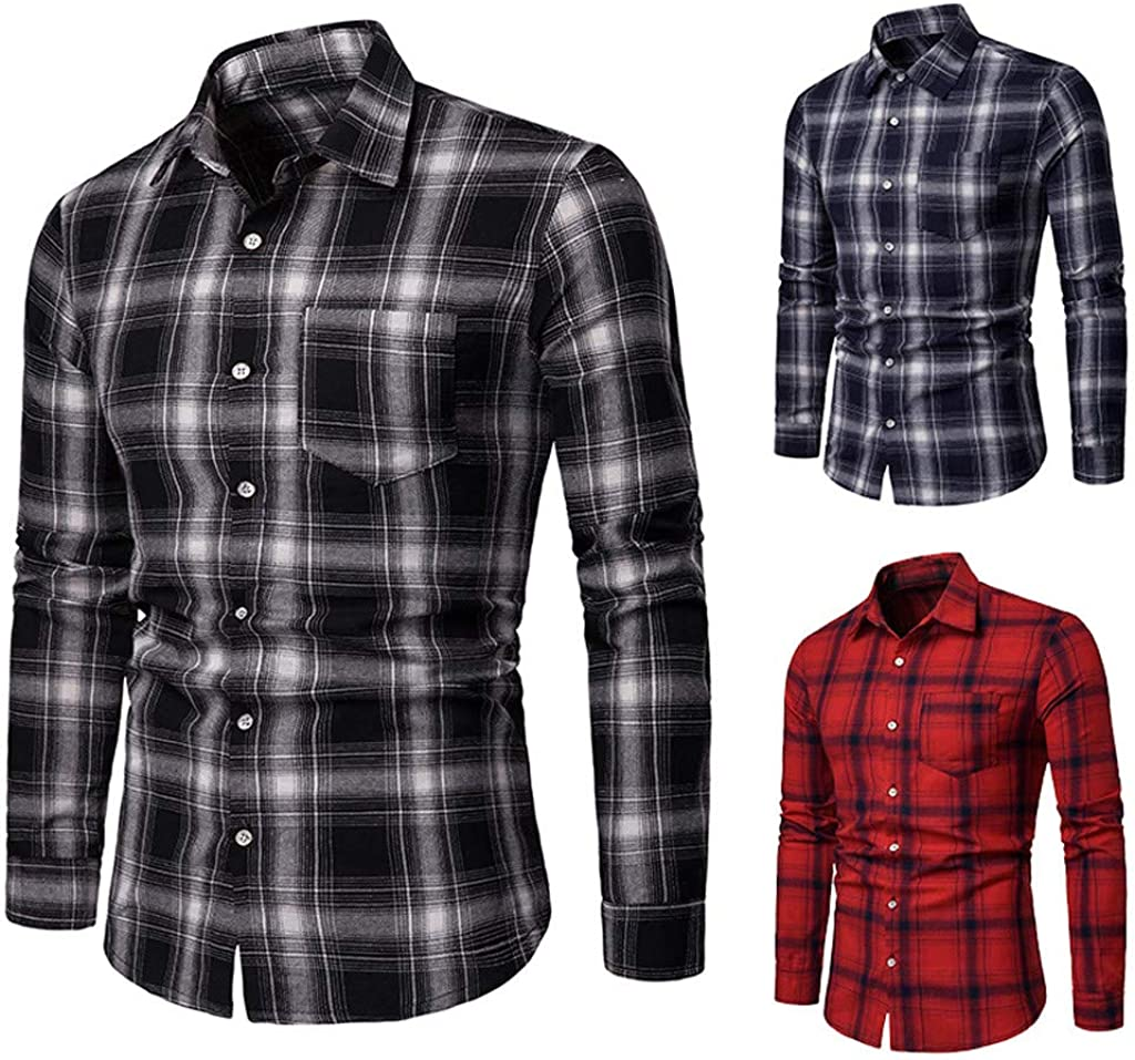 TAGGMY Shirts for Men Plaid Business Fashion Print Long Sleeve Spring Design Casual Slim Fit Button Tops Blouse T-Shirt