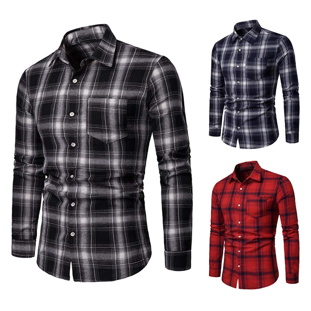 Joe Wenko Mens Business Pure Color Button Down Casual Long-Sleeve Shirt
