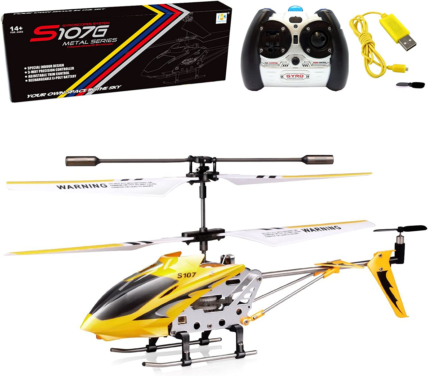 Amazon.com: Cheerwing S107/S107G Phantom 3CH 3.5 Channel Mini RC Helicopter with Gyro Yellow: Toys & Games