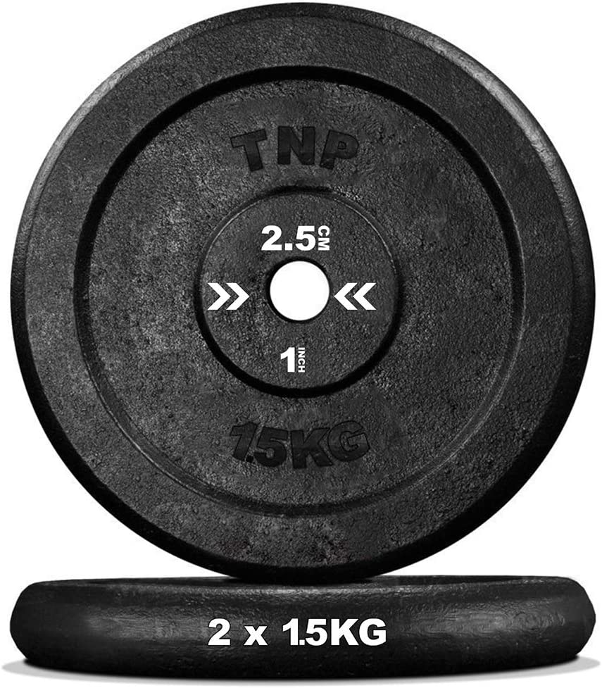 TNP Accessories/® Cast Iron Weight Plates 1 Hole Black Disc Dumbbell Barbell Weight Fitness Training 2.5kg to 25kg Pair Set Of Two