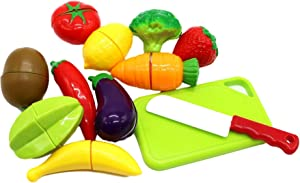 Little Treasures Kids Play Cutting Fruits and Vegies Toy Small Set Pretend Food Playset Fruit Pieces to be Sliced up with Knife and Cutting Board, Multicolored, 12 Piece