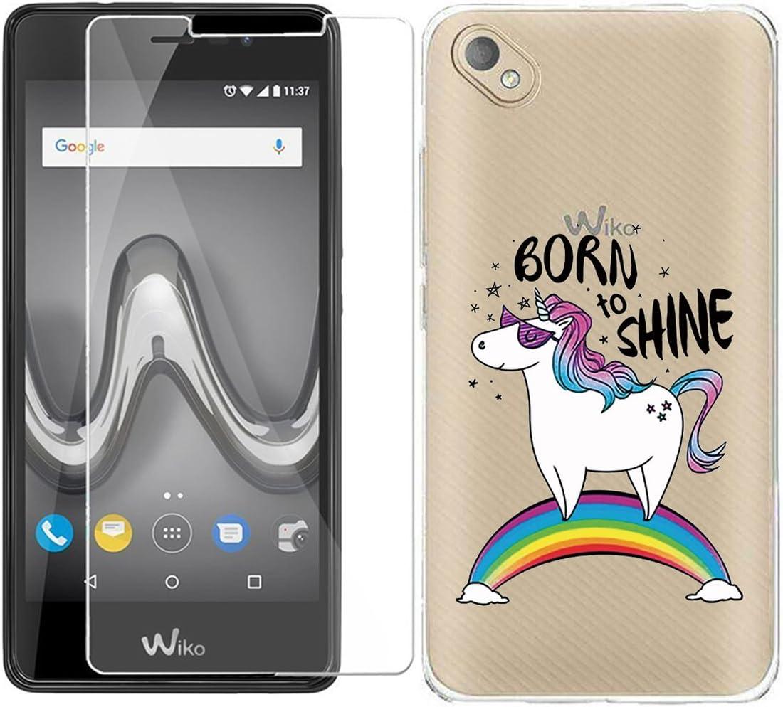 JIENI Funda para Wiko Sunny 2 Plus (5.0 Pulgadas) Cover, Transparente TPU Suave Silicona Hermoso Animal Parachoques Tapa Caso Carcasa de Cristal Templado Protector Pantalla: Amazon.es: Electrónica