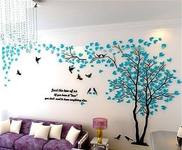 Diy 3d Riesiger Baum Paar Wandtattoos Wandaufkleber Kristall Acryl Malen Wanddeko Wandkunst Xl Blau Links