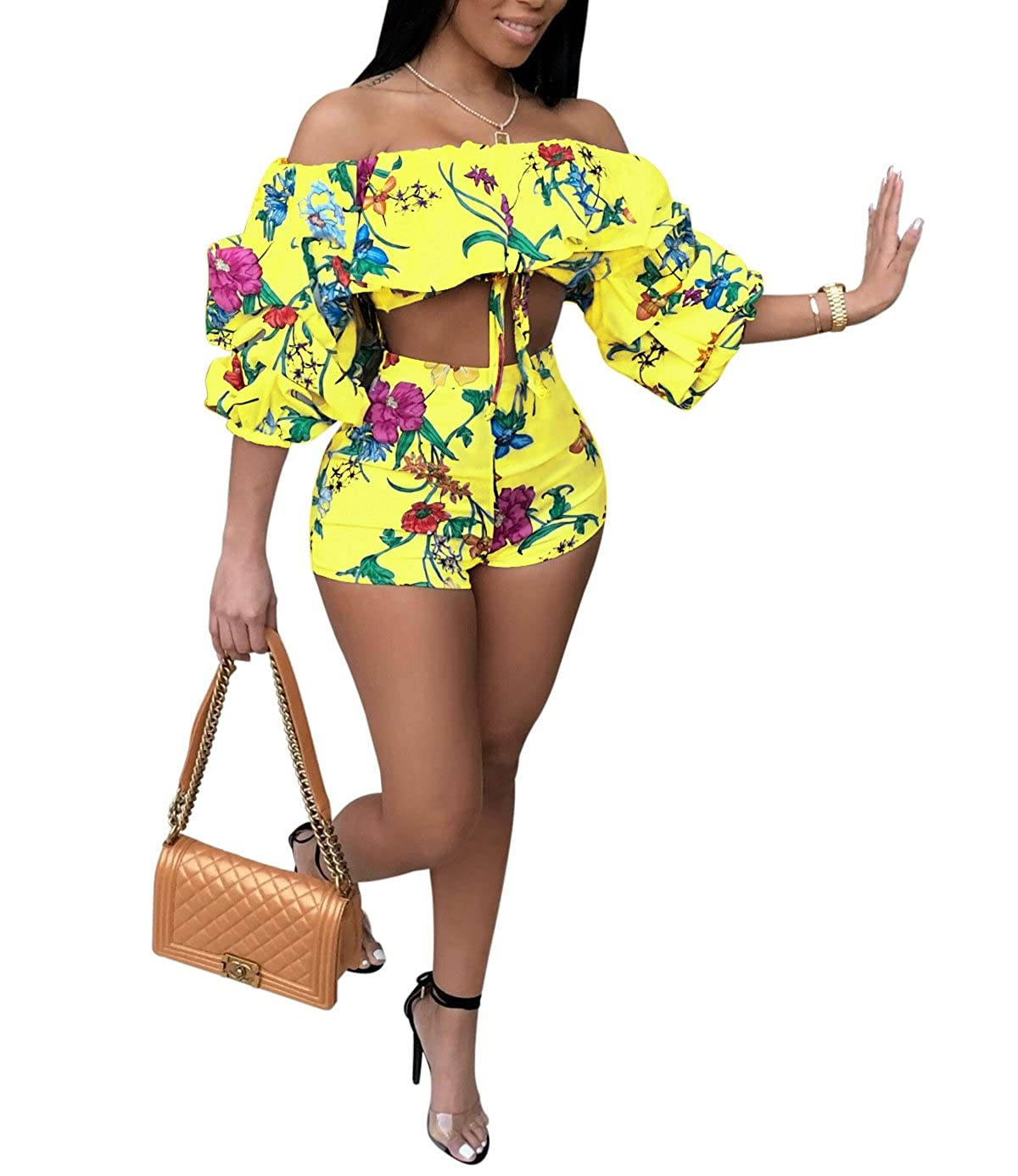 49da48702d304 Amazon.com: Womens Off Shoulder Ruffle Puff Sleeve Crop Top and Shorts Set  2 Pieces Floral Print Jumpsuit Romper: Clothing