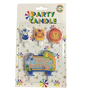 My Party Shop Jungle Theme Happy Birthday Candles Amazonin Home Kitchen