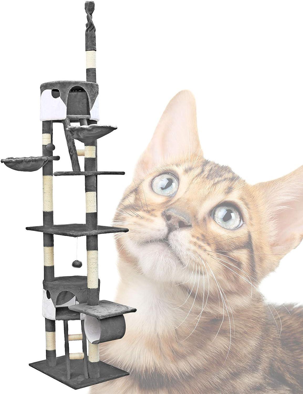 Árbol rascador para gatos 240-260cm XXL Gris/blanco Altura hasta techo Mascotas Animales de compañía: Amazon.es: Productos para mascotas