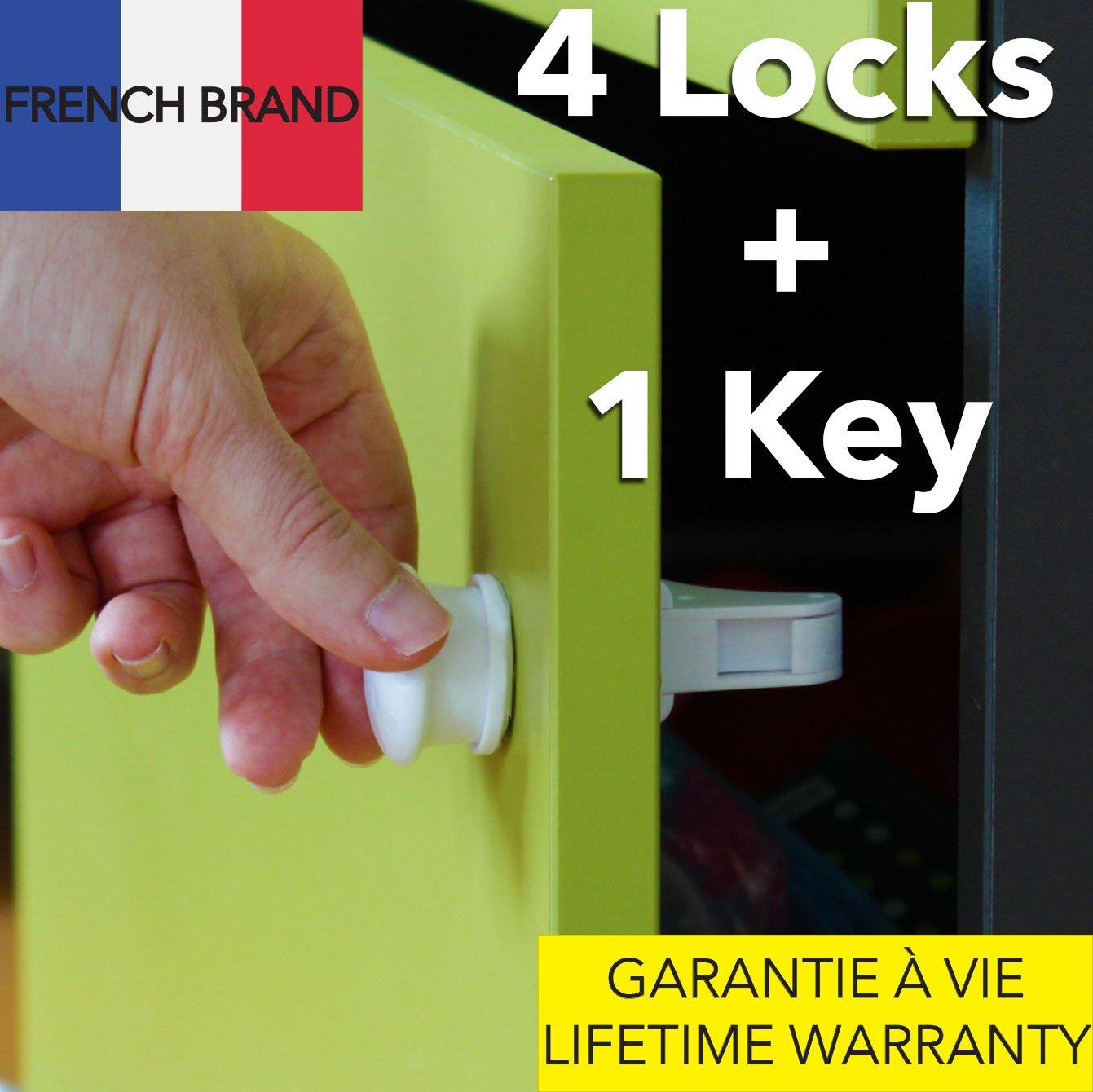 TAKIT Seguros de cajones para niños pequeños, seguros invisibles magnéticos de vitrinas para niños pequeños – no se necesitan herramientas ni tornillos. 4 seguros + 1 llave – Blancos BB1