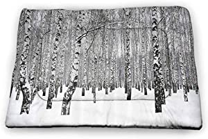 prunushome Crate Bed Pet Mat Winter Decorations Dog/Cat Cage Mat Cusion Silhouettes of Deer in Snowy Forest with Blizzards Surreal Dreamy Theme for Indoor/Outdoor Use Blue White
