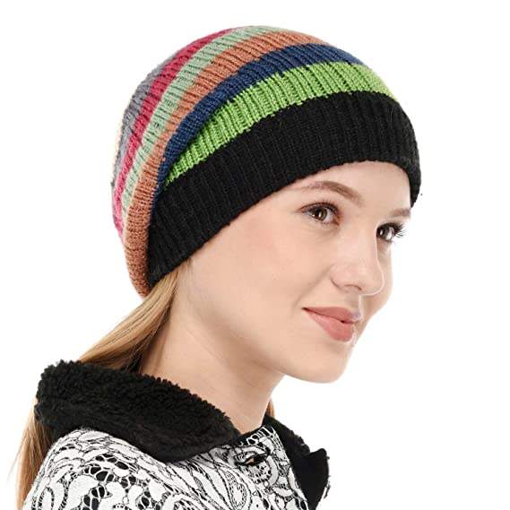 1c8ecafdd78 VR Designers Women s Self Pattern Handknitted Woolen Beanie Cap (Black-  Green Multicolored)
