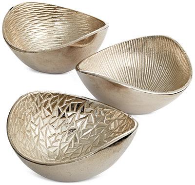 Simply Designz Serveware Set Of 3 Metallic Organic Nut Bowls Home Decor For