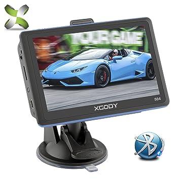 Xgody 504 - Navegador GPS portátil para Coche, Pantalla táctil de 5 Pulgadas con Bluetooth, 8 GB ROM, dirección de Giro con Parasol y navegador para ...