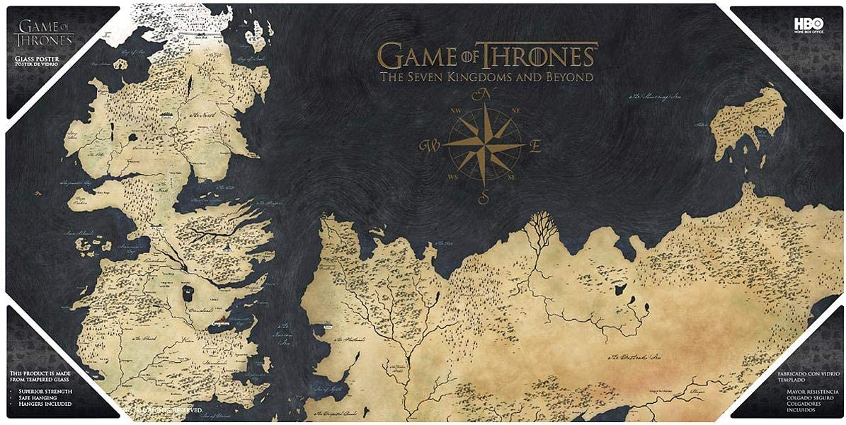 Amazon Com Game Of Thrones Glas Poster Karte Von Westeros Toys