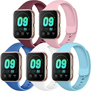 IEOVIEE [Pack 5] Compatible with Apple Watch Bands 38mm 42mm Series 6 5 4 3 2 1 & SE (Wine Red/Baby Blue/Pink/Royal Blue/White, 42mm/44mm-S/M)